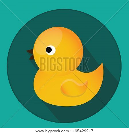 Baby kids toy. Classic yellow rubber duck for bath. Vector icon with long shadow. Kids toy symbol. Design element for applications shops stores
