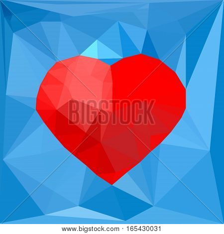 Artistic red geometric heart symbol on blue polygonal background. Vector illustration. Concept design template for romantic love St Valentine's day banner flyer promotion