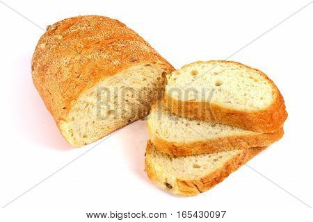 Sliced White baguette isolated over white background