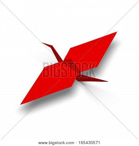 Red origami crane 3d illustration render with shadows.