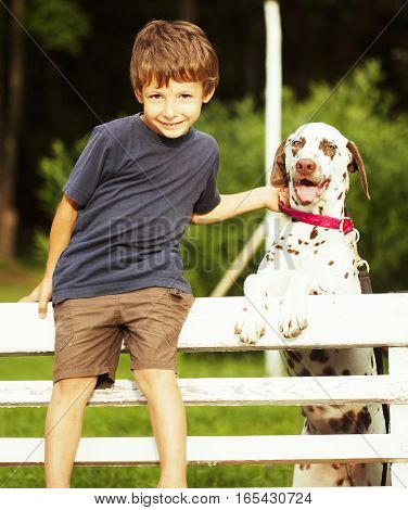 little cute boy with dalmatian dog in green park playing