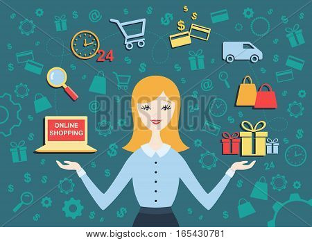 Flat design vector illustration of young woman shows process of online shopping