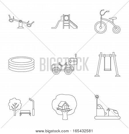 Play garden set icons in outline style. Big collection of play garden vector symbol stock