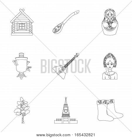 Russia country set icons in outline design. Big collection of Russia country vector symbol stock illustration