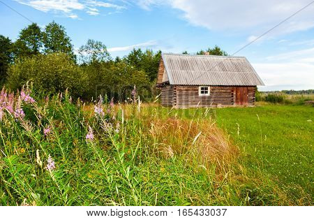 Traditional russian wooden bath at the countryside in summer sunny day