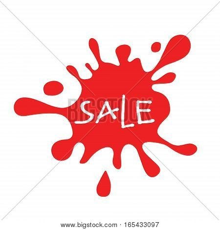 Sale red splat isolated. Sale lettering. Colorful spot