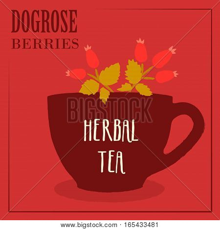 Herbal tea with dogrose berries. The design of the label. Vector