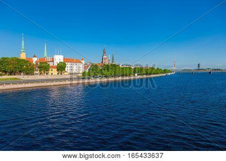 Old Town Of Riga And Daugava River At Summer Day. Riga, Latvia