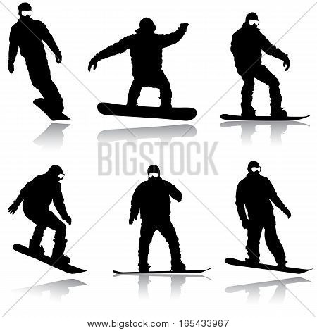 Set black silhouettes snowboarders on white background. Vector illustration.