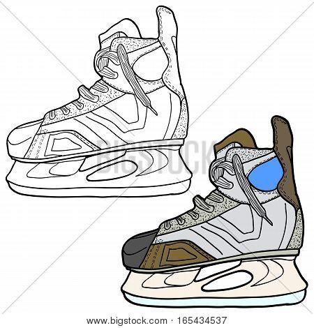 Sketch of hockey skates. Skates to play hockey on ice, vector illustration.