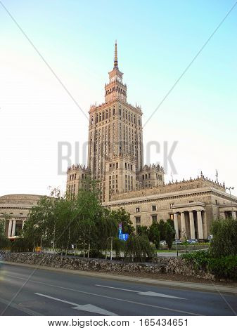 The building of the Palace of Culture and Science in Warsaw Poland.