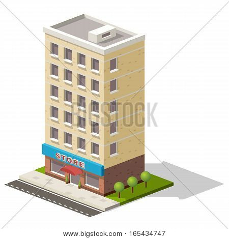 Vector isometric icon representing store or shopping center building with trees nearby.