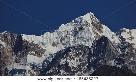 High mountain next to mount Manaslu Nepal.