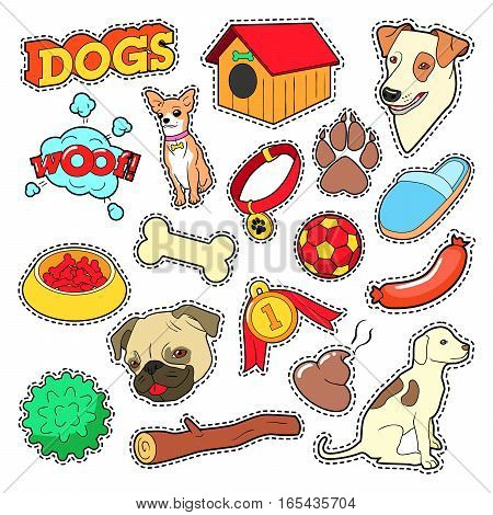 Dogs Pets Doodle for Scrapbook, Stickers, Patches, Badges with Puppy. Vector illustration