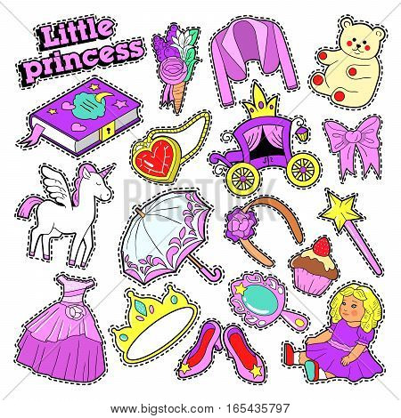 Little Girl Princess Badges, Patches, Stickers with Toys, Unicorn and Clothes. Vector doodle