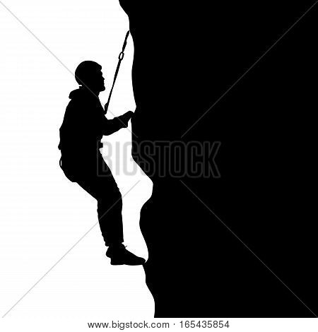Black silhouette rock climber on white background. Vector illustration.