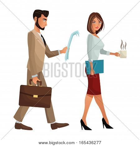 man and woman walking office work documents folder suitcase vector illustration eps 10