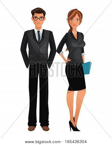 couple worker office business standing vector illustration eps 10
