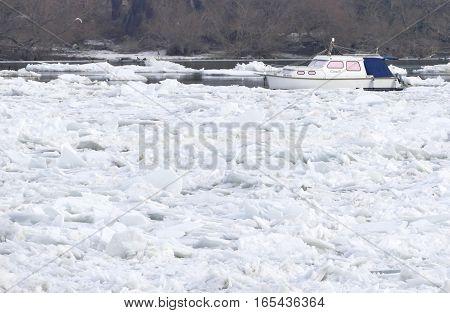Belgrade, Serbia. January 16Th 2017: Trapped Boat Into The Frozen Danube River In Belgrade, Serbia