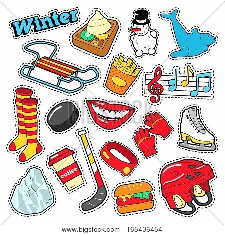 Winter Stickers, Badges, Patches Decoration Set with Snowman, Hockey and Sled. Vector Doodle