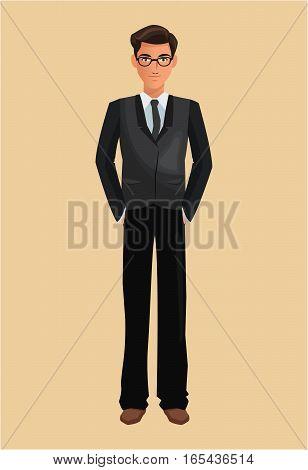 business man suit necktie glasses vector illustration eps 10