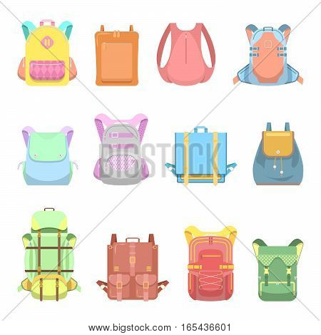 Backpack, Suitcase and Bag Set for School, Travel and Casual Lifestyle. Vector illustration