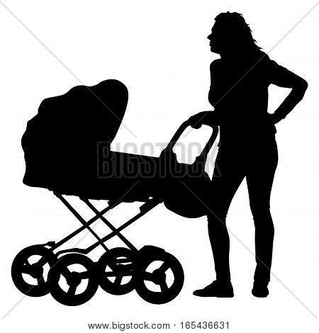 Black silhouettes Family with pram on white background. Vector illustration.