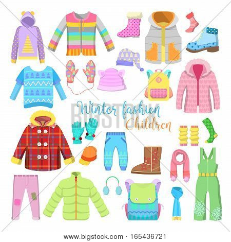 Children Winter Clothes and Accessories Collection with Jackets, Hats and Sweaters. Vector illustration