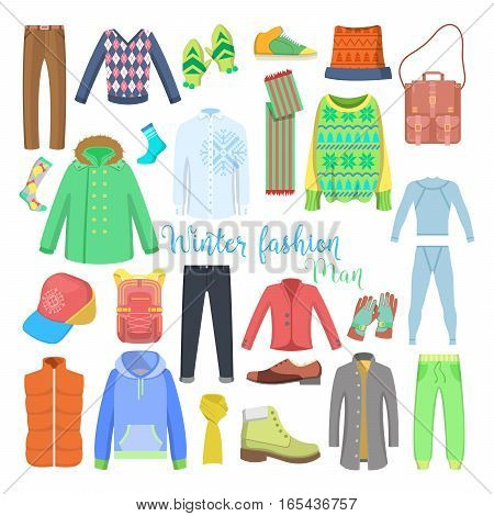 Man Winter Clothes and Accessories Collection with Shoes, Coats and Sweaters. Vector illustration