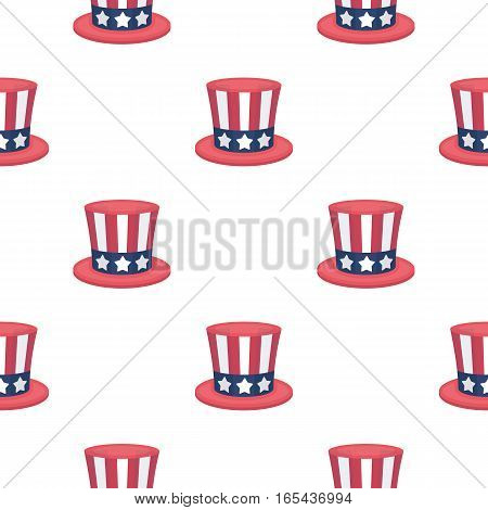 Uncle Sam's hat icon in cartoon style isolated on white background. Patriot day pattern vector illustration.