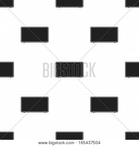 LCD television icon in black style isolated on white background. Household appliance pattern vector illustration.