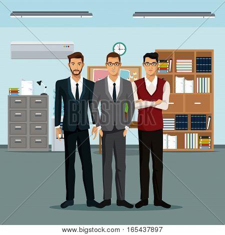 men teamwork place furniture books cabinet file clock vector illustration