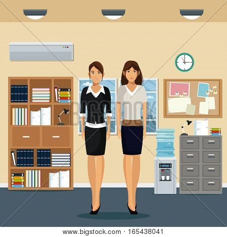 women office work standing cabinet file cooler water bookshelf notice board and window city background vector illustration