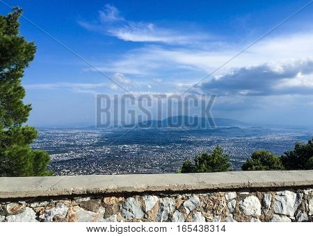 Panorama of Athens in Greece. view from the mountain to Athens