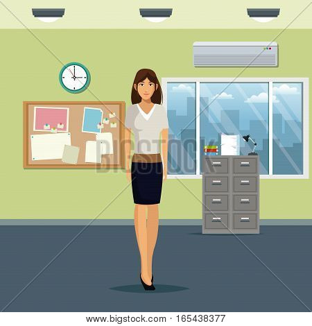 woman workspace office cabinet file notice board clock window and air conditioner vector illustration eps 10