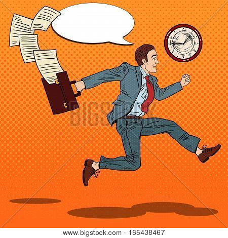 Pop Art Businessman with Briefcase Running to Work. Vector illustration