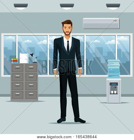 man standing workplace office cabinet document cooler water vector illustration eps 10