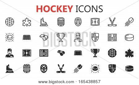 Simple modern set of hockey icons. Premium symbol collection. Vector illustration. Simple pictogram pack.
