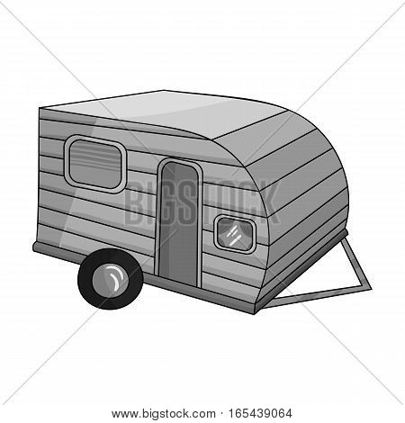 Green caravan icon in monochrome design isolated on white background. Family holiday symbol stock vector illustration.