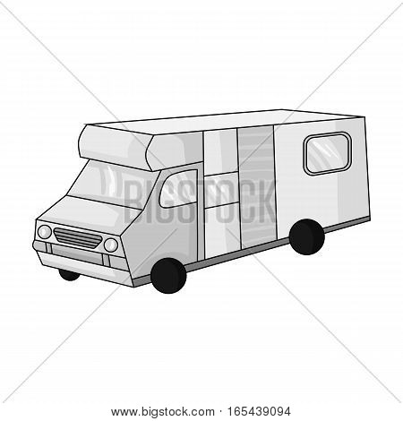 Campervan icon in monochrome design isolated on white background. Family holiday symbol stock vector illustration.