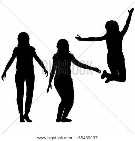 Silhouette of three young girls jumping with hands up, motion. Vector illustration.