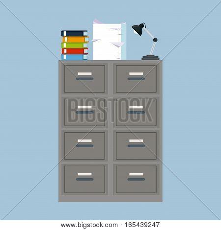 cabinet folder file binder lamp pile document vector illustration eps 10
