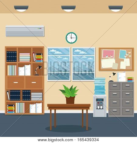 office workspace bookshelf cabinet table plant clock water dispenser window vector illustration