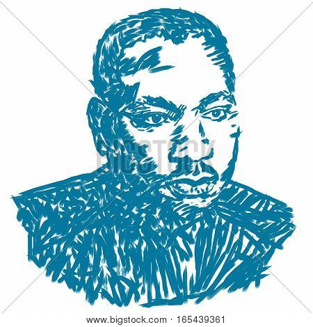 Circa January 17, 2017: An illustration of a portrait of Dr. Martin Luther King, Jr., on a white background