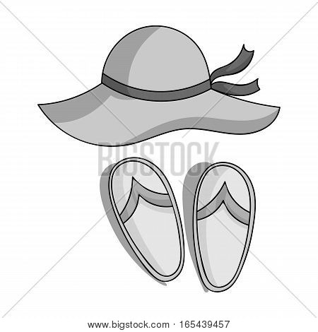 Beach hat with flip-flops icon in monochrome design isolated on white background. Family holiday symbol stock vector illustration.
