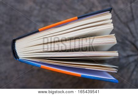top view of an open book on a wooden board, background