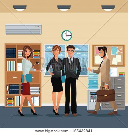 staff office working scene furniture cabinet cooler water clock vector illustration eps 10