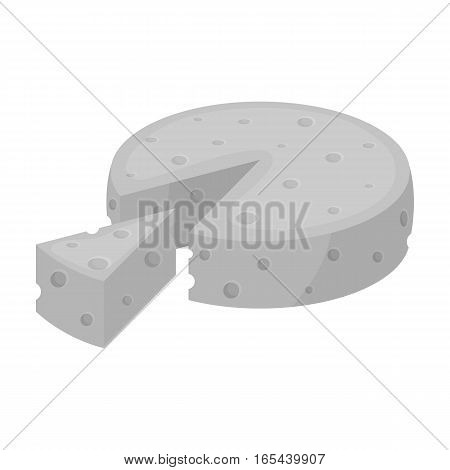 French hard cheese icon in monochrome design isolated on white background. France country symbol stock vector illustration. - stock vector