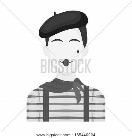 French mime icon in monochrome design isolated on white background. France country symbol stock vector illustration. - stock vector