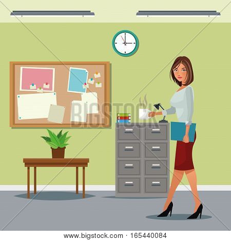 woman buisness office table cabinet file notice board clock vector illustration eps 10
